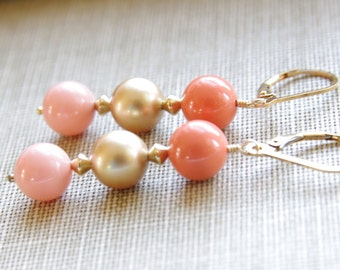 Coral Earrings Dangle Earrings Coral Jewelry 14kt Gold Filled Gold Pearl Earrings Peach Coral Bridesmaid Earrings Pink Coral Wedding Jewelry