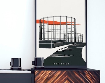 Hackney Print - The Industrial Skeletons of Hackney - Illustrated Poster - Art Prints of London - Gasholder Gasometer Gasworks Prints