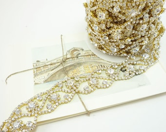 Gold Rhinestone Curly Border Trim, Rhinestone Chain, Rhinestone Applique, Wedding Rhinestone Trim, Clear Crystal Trim, 25mm ( 1 Feet Qty)