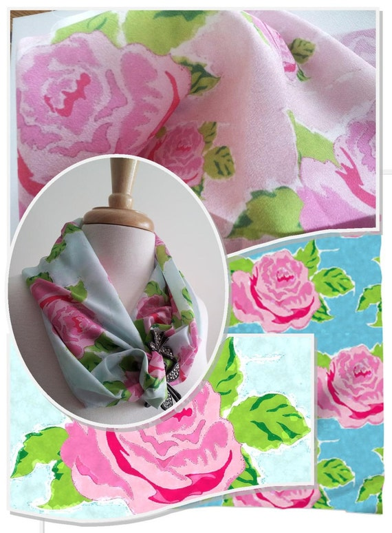 Infinity Scarf Mini SCARFIE Tropical Blooms  pink or blue / Spring Summer Loop scarf / Beach Scarf / Short Scarf Cowl-MONOGRAM BLANK