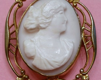 Antique Shell Cameo Brooch Hand Carved Early 1900s Art Nouveau Setting Classical Greek Woman Psyche Bride of Cupid