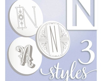 Embroidery Patterns Modern Monograms Letter N hand embroidery patterns in three styles Alphabet Letter embroidery designs by SeptemberHouse