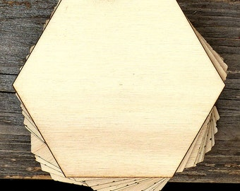 10 x Wooden Plain Hexagon Craft Shapes 3mm Plywood
