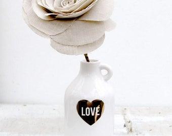 4th Anniversary Natural LINEN Fabric Flower Gift for Her Wife Girlfriend Fiancee Linen Flower by Cotton Bird Designs