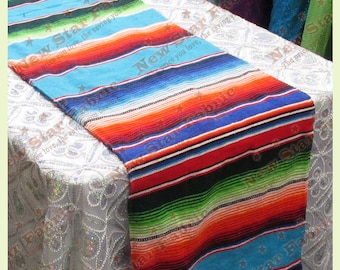 "Serape Table Runner - Mexican Table Runner - Saltillo Serape - For Wedding & Parties 13"" X 77"" Turquoise"
