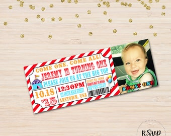 Circus Party Invitation, photo option available