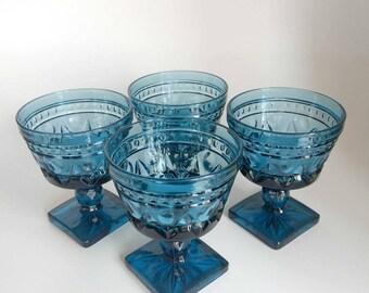 Vintage Glassware Wedding Blue Wine Glasses Indiana Glass Goblets Park Lane Sherbert Mid Century Cut Glass Retro Home Decor