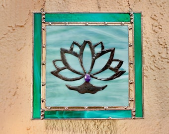 Stained Glass Lotus Window Hanging - Green & Peacock Green Glass with Amethyst Stone