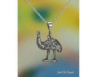 "Sterling Silver Emu Necklace with 16-24"" Cable Chain or Pendant Only"