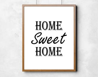 Home Sweet Home BLACK - Digital Download | Wall Decor | Printable | Home Decor | Wall Art | PDF file | DIY Projects | Artwork