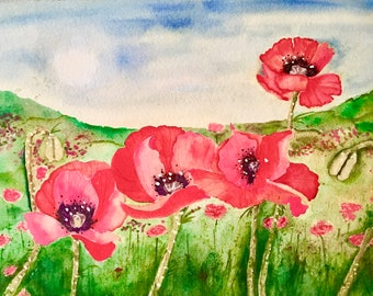 small painting poppy flowers original watercolor fine art colorado watercolors painting framed watercolour painting red california poppies
