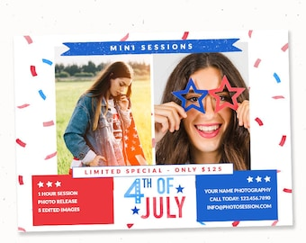 4th of July mini session template, Fourth of july, Marketing template photographer, Flyer template instant download, July 4th minis