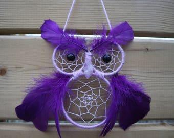 Purple Owl Dreamcatcher with Purple Amethyst Beak