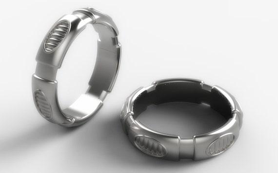 Futuristic wedding band Star wars ring geek wedding ring