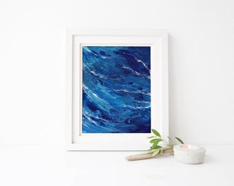 Storm on the Horizon #1, 8x10, 11x14, original art, original painting, abstract art, abstract painting, blue and white art, ocean art