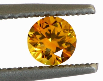 Intense Yellow Sapphire, 0.33ct Montana Sapphire, Precision Cut in the USA, 4mm Round, Genuine Yellow Montana Sapphire, CS130