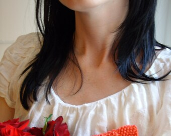 Bright Knitted bow Brooch in coral bamboo