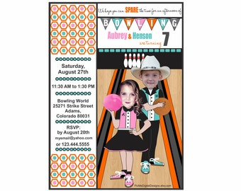Twins Custom Photo Bowling Birthday Invitation, Bowling Birthday Invitation, Custom Birthday Invitation, Twin Birthday Invitation
