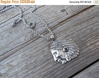 ON SALE Indian head necklace handmade in sterling silver