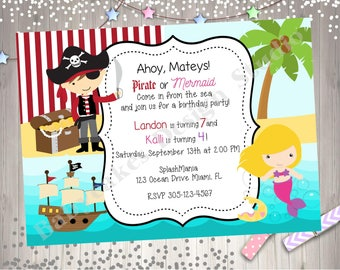 Pirate and Mermaid Birthday Party Invitation Invite sibling birthday boy girl Pirate Mermaid printable CHOOSE YOUR Pirate AND Mermaid