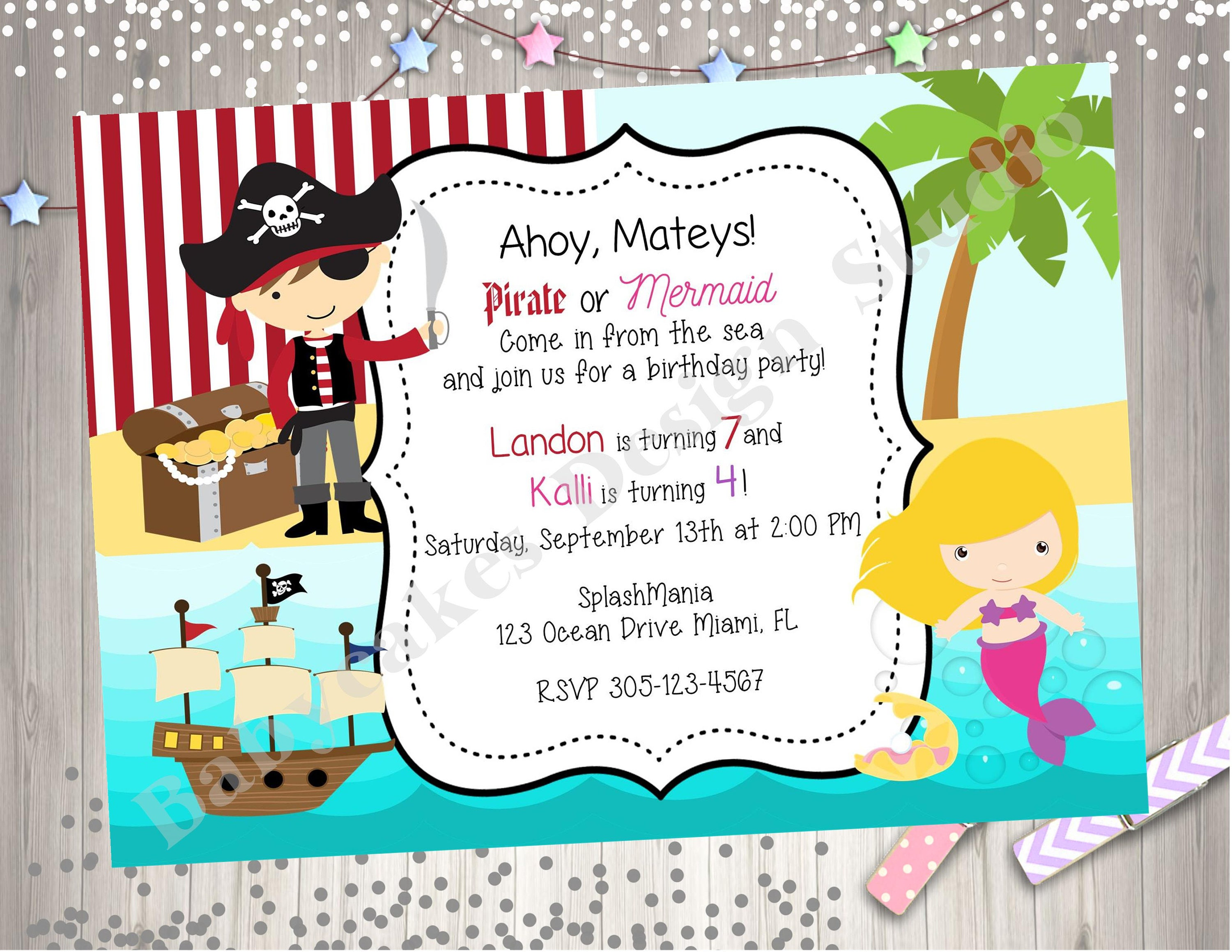 Pirate and Mermaid Birthday Party Invitation Invite sibling