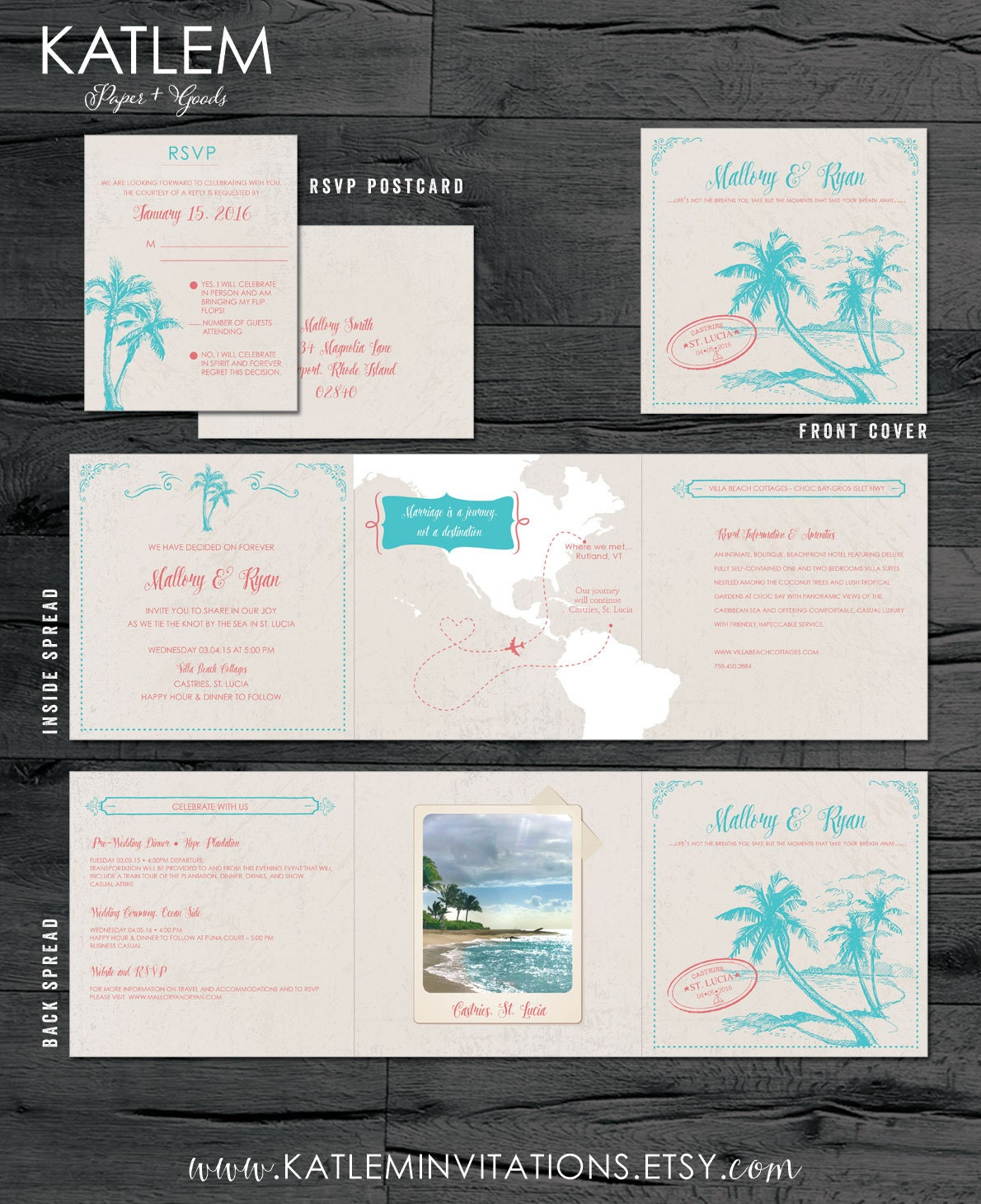 St Lucia Destination Wedding Invitation Tri Fold Invitation