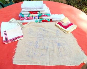 13 pc Linen Lot 4 Print Tablecloths Embroidered Runners Doilies DIY SUNBONNET SUE Crafts Cutter Lot vintage 1940s 1950s