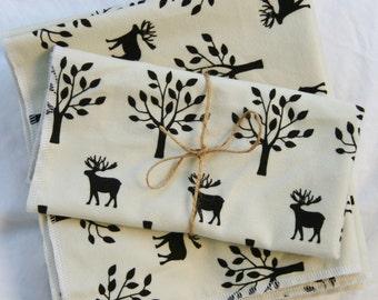Dinner Napkins Cream and Dark Brown Deer-Elk-Moose-Cotton Flannel Napkins  Cotton Flannel- Set of 8