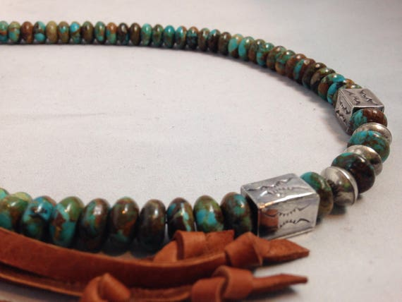 Handmade, Southwestern, Blue Kingman Arizona Rondelle Turquoise Beads, Sterling Silver Bead, Saddle Brown Leather Necklace