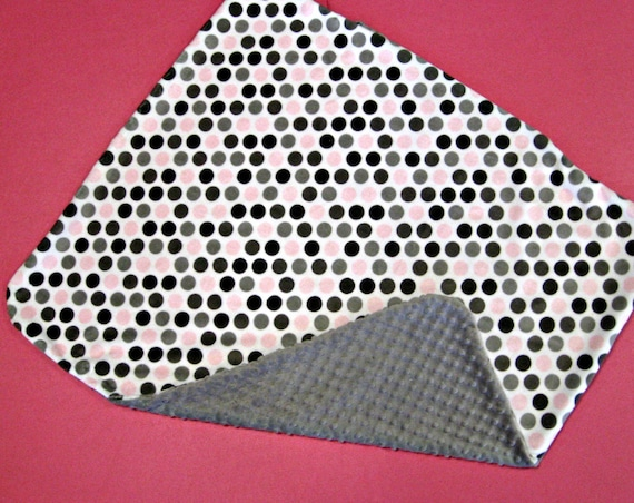 Lovely Little Baby Blanket in Pink and Grey Dot