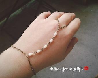 Gold Slave Bracelet White Beaded Hand Chain Boho Slave Bracelet Bohemian Hand Chain Mother's Day Gift For Her Ring Harness Bracelet