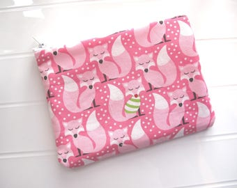 Small pink makeup organizer Cosmetic case with pink foxes