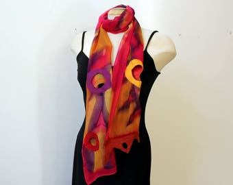 """painted silk and nuno felted scarf 13"""" x 70"""""""