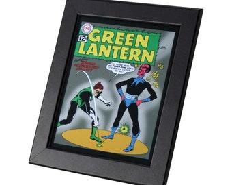 Green Lantern DC Comics Framed Genuine Postcard Perilous Traps Superhero Frame, XS048