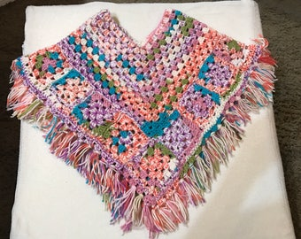 Girl's Multi-Color (Rainbow) Poncho
