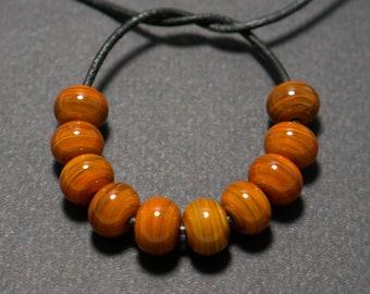 Spacer beads set, Caramel striky brown lampwork spacer beads, Lampwork beads, Brown glass spacer, Lampwork spacer