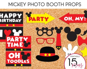 Mickey Photo Booth Props - PRINTABLE