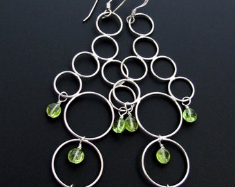 The Silver Bubbles Chandelier Earrings With Peridot Gems