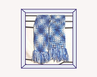 "Oversized Crochet Scarf, Blue and White Super Scarf, Extra Long And Wide Scarf, Bulky Scarf, Hand Made Crochet Scarf, 96"" Crochet Scarf."