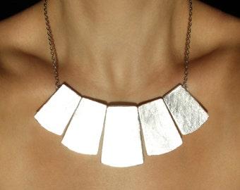 Silver bib necklace Statement jewelry Light necklace Bib silver necklace Fashion necklace Birthday Gifts modern Minimal big jewelry Gift set