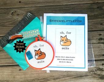 Beginner Cross Stitch Kit, Oh For Fox Sake, Easy Crossstitch Kit, DIY Kit, Needlepoint, Cute Cross Stitch, Modern Cross Stitch, XStitch Kits