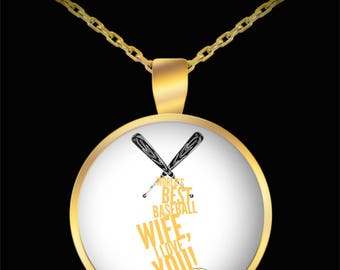 WORLD'S BEST Baseball Wife! Gold Plated Necklace