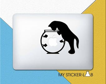 Cat MacBook Decal Cat MacBook Sticker MacBook Pro Decal Apple Logo Decal Cat Vinyl Sticker MacBook Air Decal Cat MacBook Retina Decal m035