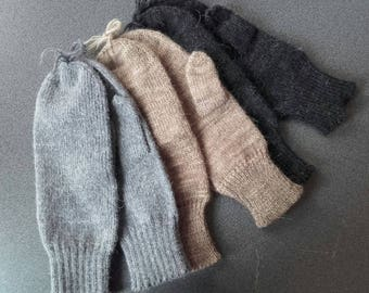 Mohair and Wool Mittens Handmade with Natural Materials