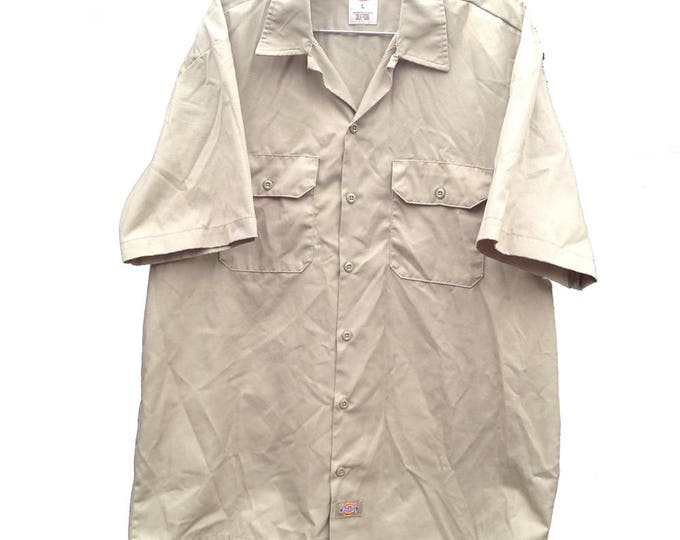 Large Dickies Industrial Work Shirt Khaki