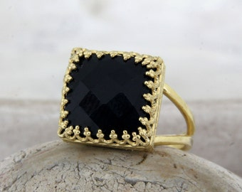 MOTHER'S DAY SALE - square black ring,gold ring,black onyx ring,black diamond alternative,14k gold filled rings,natural stone ring