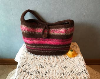Upcycled Felted Purse Repurposed from a Wool Sweater, Brown and Pink Handbag, Craft Tote