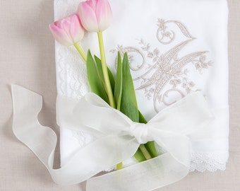 Grace White Cotton Blanket, White Lace Baby Blanket, Girls White Receiving Blanket, Christening Blankets, Custom Letter Embroidery