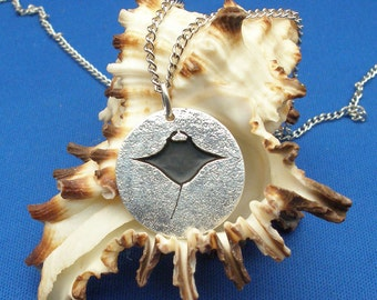 Manta Ray Pendant, hand crafted recycled sterling silver, handmade scuba diving necklace