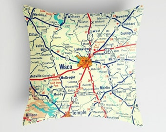 Texas Pillow Cover, Printed Pillow, Fathers Day Gifts TX Throw Pillow Texas Gift Austin Dad Gifts Waco Fixer Upper Pillow Vintage Texas Map
